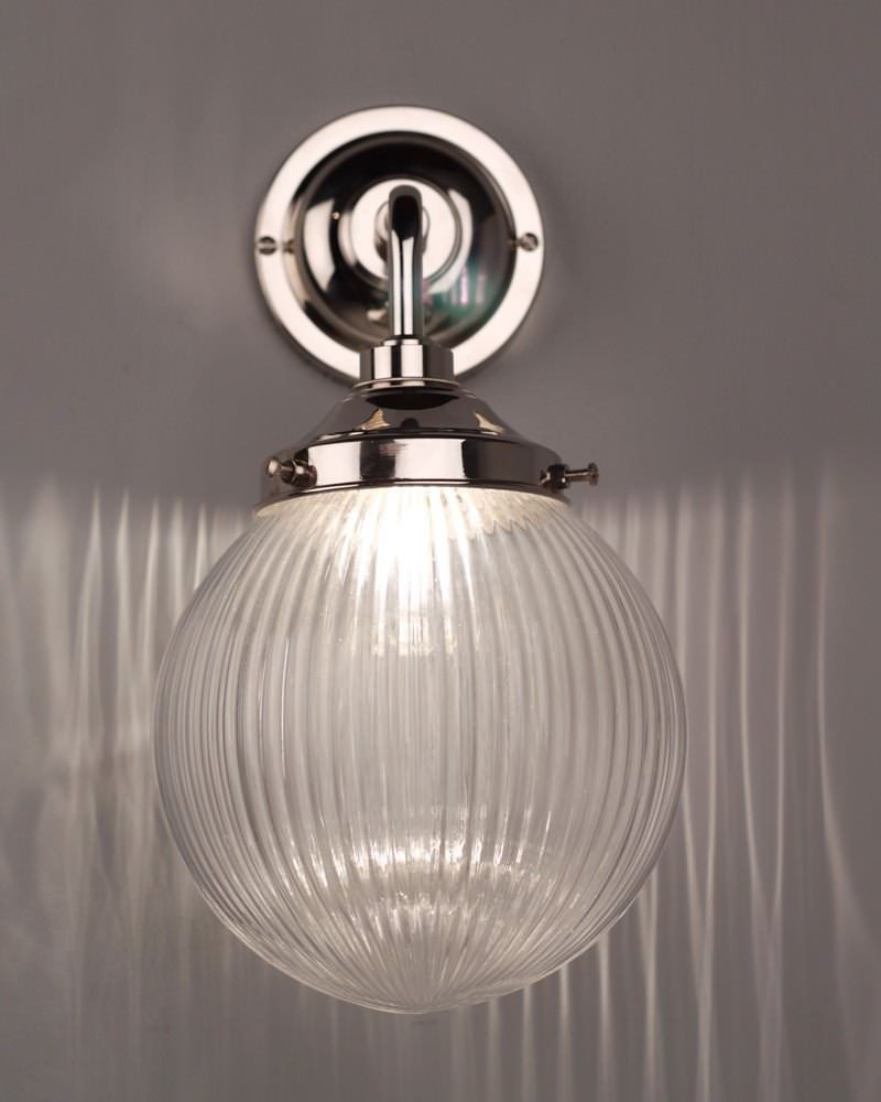 Prismatic ribbed glass globe bathroom wall light goodrich for Contemporary bathroom wall lights