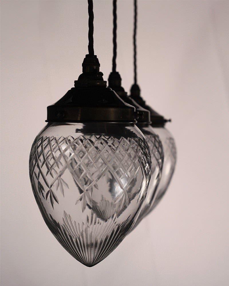 Edwardian Style Cut Glass Pineapple Pendant Ceiling Light