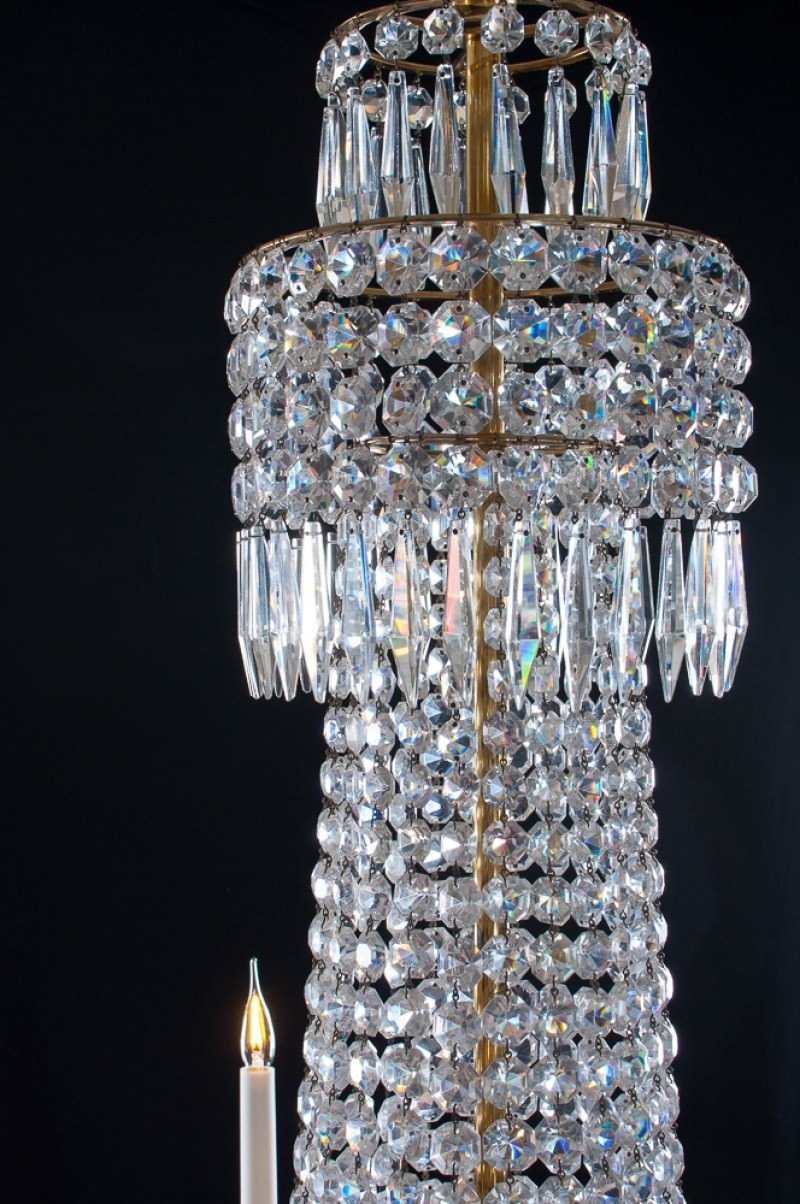 Antique Regency 8 Branch Tiered Crystal Chandelier Attrib
