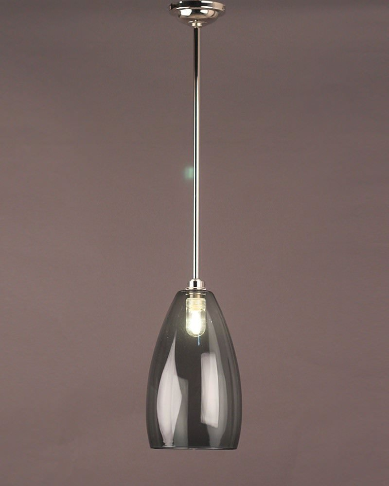 Smoked Glass Pendant Ceiling Bathroom Light Upton Retro